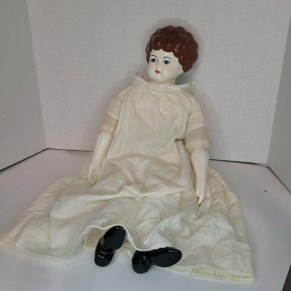 Vintage Porcelain German? Doll Brunette 16 in